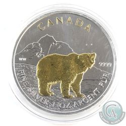 2011 Canada $5 Gilded Grizzly 1oz Fine Silver Maple (Tax Exempt)