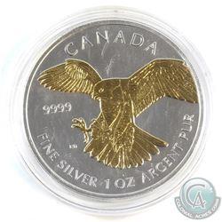 2014 Canada $5 Gilded Peregrine Falcon 1oz Fine Silver Maple (Tax Exempt)