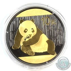 2015 China 10Y Gilded & Ruthenium Panda 1oz .999 Fine Silver Coin (Tax Exempt)