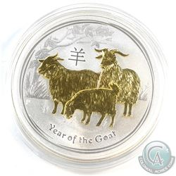 2015 Australia $1 Gilded Year of the Goat 1oz Fine Silver Coin (Tax Exempt)