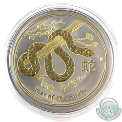 2013 Australia $1 Gilded Year of the Snake with Ruthenium Finish 1oz Fine Silver Coin (Tax Exempt)