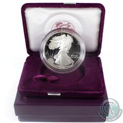 1990  American Eagle 1oz Fine Silver Proof Coin with Display Box and Certificate of Authenticity (Ta