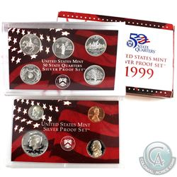 1999 United States Mint silver Proof set with outer box and coa (packaging contains various imperfec