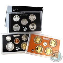 2011 United States mint silver proof 14-coin set with box and coa (some coins are lightly toned, and
