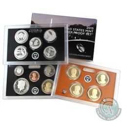 2015 United States mint silver proof 14-coin set with box and coa (some coins are lightly toned, and