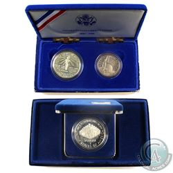 1986 United States Liberty 2-coin Set & 1987 Constitution Proof silver coin. Coins contain natural t