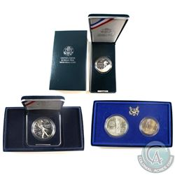Lot of 3x United States Commemorative Silver coins: 1986 United states mint Liberty 2-coin set (miss