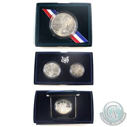 Lot of 3x United States Commemorative Silver coins: 1991 Korean War Memorial Uncirculated silver dol