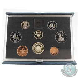 1986 United Kingdom 8-Coin Proof Set In Original Blue Presentations Case.