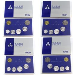 People's Bank of China Issue: 1997, 1998, 1999, 2000 Official 6-coin Mint set Collection. 4pcs.