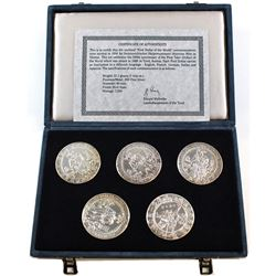 Austria Mint Issue: 1986 Limited Edition - First Dollar of the World Silver 5-coin Set. Each coin is