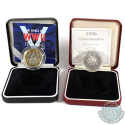 Royal Mint Issue: 1996 UK 2 Pound A Celebration of Football Silver Coin & 1945-2005 End of WWII 2 Po