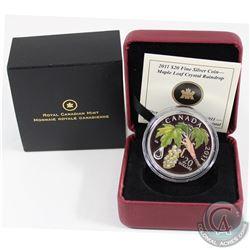 2011 Canada $20 Maple Leaf Crystal Raindrop Fine Silver Coin. (Sticker on sleeve is scuffed) (TAX Ex