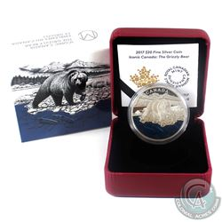 2017 $20 Iconic Canada - The Grizzly Bear Fine Silver Coin. (TAX Exempt)