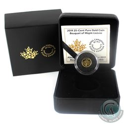 2019 Canada 25-cent Bouquet of Maple Leaves Pure Gold Coin. (TAX Exempt)
