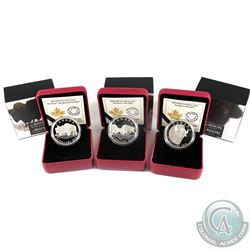 2014 Canada $20 The Bison Fine Silver Coins - A Portrait, The Bull and His Mate & The Fight. 3pcs (T