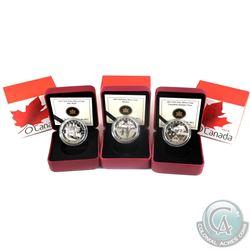 2013 $10 O Canada Fine Silver Coins - Canadian Summer Fun, Wolf & Hockey. 3pcs (TAX Exempt)