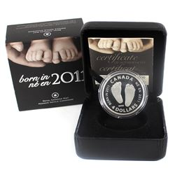 2011 Canada $4 Welcome to the World - Baby Feet Fine Silver Coin (Sleeve lightly dented). (TAX Exemp