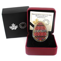 2018 Canada $20 Golden Spring Pysanka Fine Silver Egg Shaped Coin. (TAX Exempt)