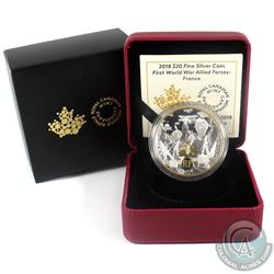 2018 Canada $20 First World War Allied Forces - France Fine Silver Coin. (TAX Exempt)