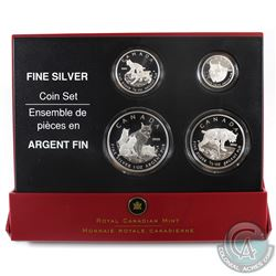 2005 Canada Fractional The Lynx .9999 Fine Silver 4-coin Set (TAX Exempt) Outer sleeve is lightly wo