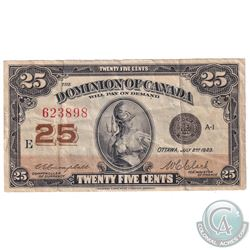 1923 25c DC-24d, Dominion of Canada, Campbell-Clark, VF-EF (Holes)