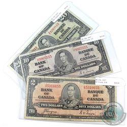 Lot of 3x 1937 Bank of Canada Notes. You will receive $2 BC-22c prefix Z/B, $10 BC-24c prefix J/T &