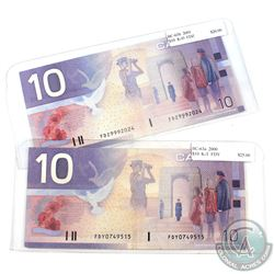 Pair of $10 Journey Series Banknotes - 2000 $10 BC-63a Knight-Thiessen Prefix FDY & 2001 $10 BC-63b