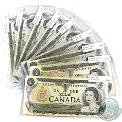 Group Lot of 1973 $1 Bank of Canada Notes. You will receive BC-46a-I prefix EAK Lithographed, 4x BC-