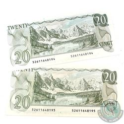 2x 1979 $20 Bank of Canada Notes with Consecutive Serial Numbers - 52611648194-95. 2pcs