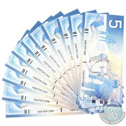 12x 2001 $5 BC-62a Bank of Canada Notes with Consecutive Serial Numbers - AOB7091388-99. 12pcs