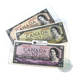 1954 $10, $20 & $50 Bank of Canada Modified Portrait Notes - $10 BC-40b prefix H/T; EF, $20 BC-41b p