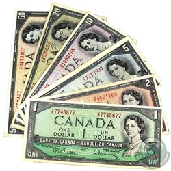 Full Run of 1954 $1 to $50 Bank of Canada Modified Portrait Notes. 6pcs
