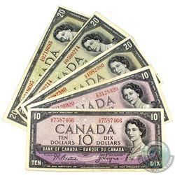 Lot of 1954 $10 & $20 Bank of Canada Notes - 2x $10 BC-40a, 1x $20 BC-41a & 2x $20 BC-41b. 5pcs