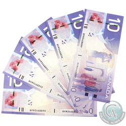 5x 2009 $10 BC-68b Bank of Canada Notes with Consecutive Serial Numbers - BFM3468889-93. 5pcs