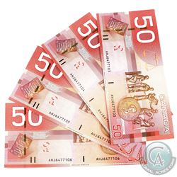 4x 2004 $50 BC-65a Bank of Canada Notes with Consecutive Serial Numbers - AHJ6477103-06. 4pcs