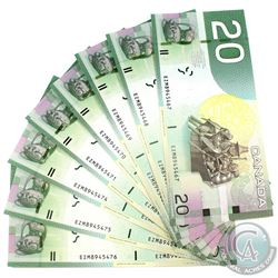10x 2004 $20 BC-64a-I Bank of Canada Notes with Consecutive Serial Numbers - EZM8945467-76. 10pcs