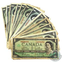 27x 1967 $1 Bank of Canada Notes in Circulated Condition. 27pcs