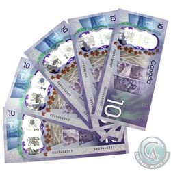 5x 2017 $10 BC-75 Banknotes with Consecutive Serial Numbers - CDD5446307-11. 5pcs