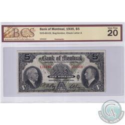 1935 $5 505-60-02, Bank of Montreal, Bog-Gordon, S/N: 134410, BCS Certified VF-20
