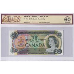 1969 $20 BC-50a-N5-iii, Bank of Canada, Beattie-Rasminsky, Low Serial Number EA0000079, BCS Certifie