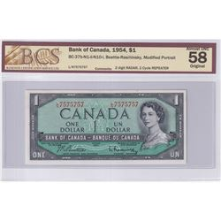 1954 $1 BC-37b-N1-ii-N10-I, Bank of Canada, Beattie-Rasminsky, S/N: L/N7575757, 2 Digit RADAR, 2 Cyc