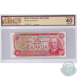 1975 $50 BC-51b, Bank of Canada, Crow-Bouey, S/N: EFA1019581, BCS Certified EF-40 Original