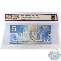 2002 $5 BC-62a, Bank of Canada, Knight-Dodge, Printed in 2001, S/N: ANY9988641, BCS Certified GUNC-6