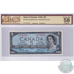 1954 $5 BC-39a-i, Beattie-Coyne, Modified Portrait, Changeover, S/N: R/C0746210, BCS Certified AU-58