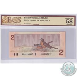 1986 $2 BC-55b, Thiessen-Crow, Small/Large B, S/N: BGJ0163897, BCS Certified AU-58 Original