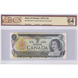 1973 $1 BC-46a-N5-iii, Lawson-Bouey, Low Serial Number MS0000043, BCS Certified CUNC-64 Original