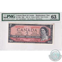 1954 $2 BC-38bA, Beattie-Rasminsky, S/N: *A/B0076842, PMG Certified CUNC-63