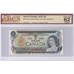 1973 $1 BC-46aS, Lawson-Bouey, S/N: AA0000000, Specimen #244, BCS Certified CUNC-62 Original