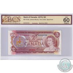 1974 $2 BC-47aS, Lawson-Bouey, S/N: BA0000000, Specimen #246, BCS Certified UNC-60 Original